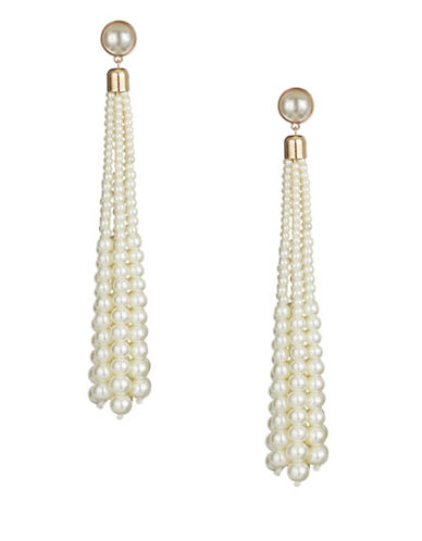 Design Lab Lord & Taylor Faux Pearl Tassel Earrings-WHITE-One Size