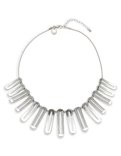 Expression Crystal Cutout Oval Glitter Statement Necklace-SILVER-One Size