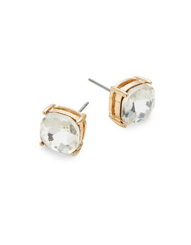 Expression Crystal Four Prong Square Stud Earrings-GOLD-One Size