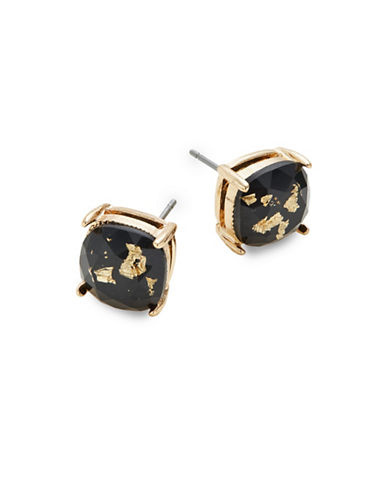 Expression Crystal Four Prong Stud Earrings-BLACK-One Size