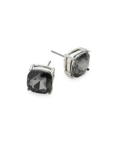 Expression Crystal Four Prong Facet Stud Earrings-BLACK-One Size