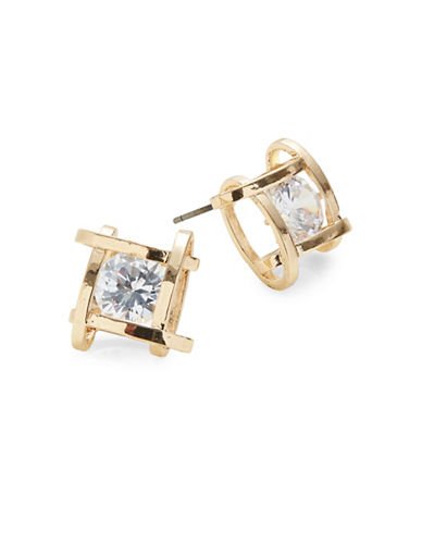 Expression Crystal Trapped Diamond Stud Earrings-GOLD-One Size