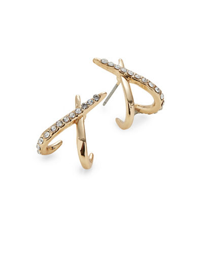 Expression Crystal X Pavé Drop Earrings-GOLD-One Size