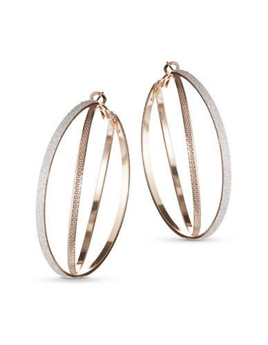 Expression Double Glitter Hoop Earrings-TWO TONE-One Size