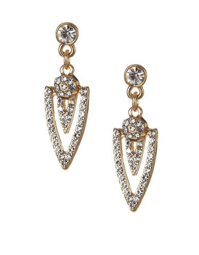 Expression Crystal Triangle Pavé Drop Earrings-GOLD-One Size