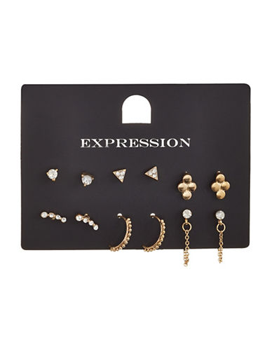 Expression Six-Piece Crystal Mini Triangle Hoop Chain Earrings Set-GOLD-One Size
