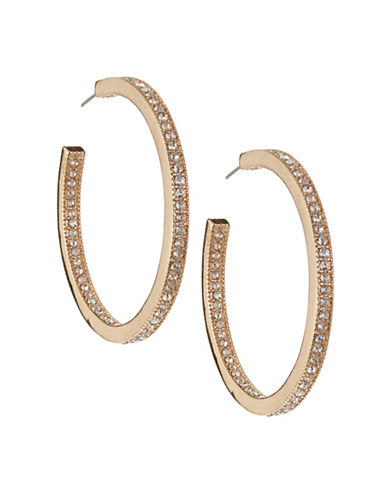 Expression Goldtone Pave Open Hoop Earrings-GOLD-One Size