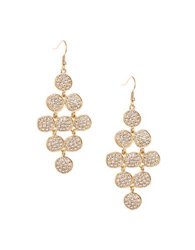 Expression Pave Disc Chandelier Earrings-GOLD-One Size