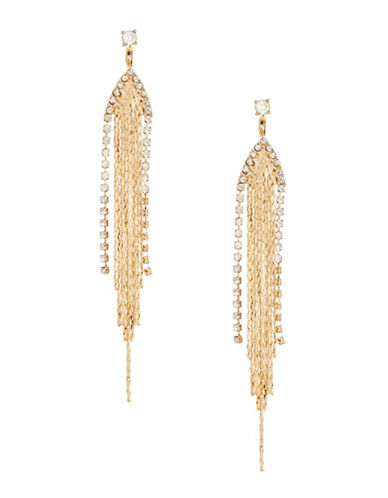 Expression V-Tassel Front-Back Earrings-GOLD-One Size