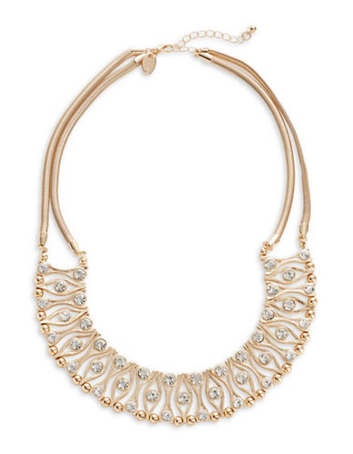 Expression Crystal Collar Necklace-GOLD-One Size