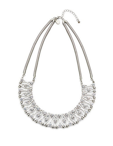 Expression Crystal Collar Necklace-SILVER-One Size