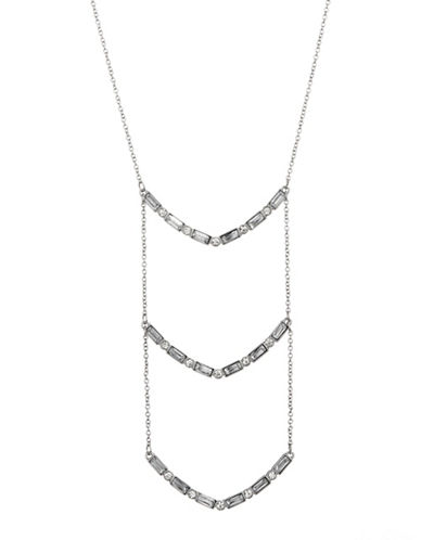 Expression Crystal Mini Rectangles Station Necklace-SILVER-One Size