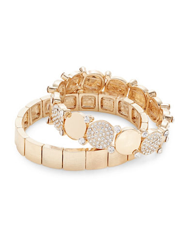 Expression Set of Two Pave Disc Bracelets-GOLD-One Size