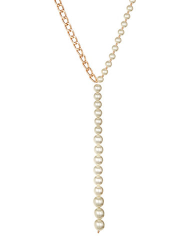 Design Lab Lord & Taylor Faux Pearl and Chain Y-Necklace-WHITE-One Size