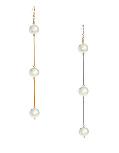 Design Lab Lord & Taylor Faux Pearl and Chain Drop Earrings-WHITE-One Size