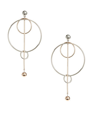 Design Lab Lord & Taylor Cut-Out Hoop and Post Drop Earrings-TWO TONE-One Size
