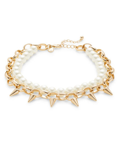 Design Lab Lord & Taylor Spike and Faux Pearl Collar Necklace-GOLD-One Size