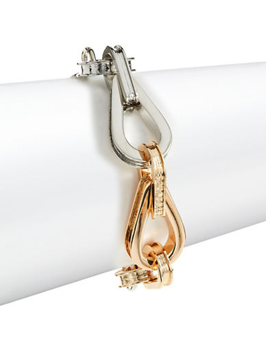 Design Lab Lord & Taylor Linked Key Ring Bracelet-TWO TONE-One Size