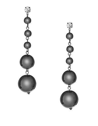 Expression Crystal and Pearl Orb Drop Earrings-DARK GREY-One Size