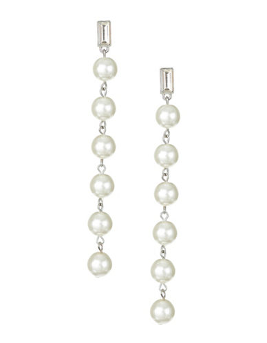 Expression Faux Pearl and Crystal Drop Earrings-WHITE-One Size
