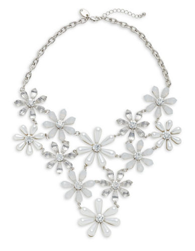 Expression Faux Pearl and Crystal Floral Bib Necklace-WHITE-One Size