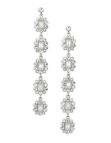 Expression Crystal Faceted Drop Earrings-SILVER-One Size