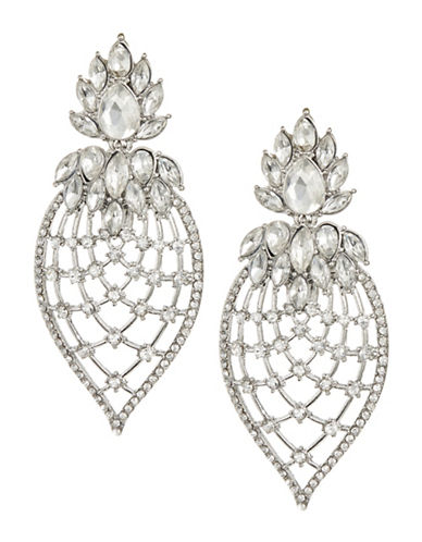 Expression Crystal Filigree Pineapple Shape Drop Earrings-SILVER-One Size
