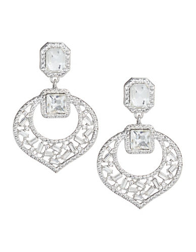 Expression Crystal Square Drop Earrings-SILVER-One Size