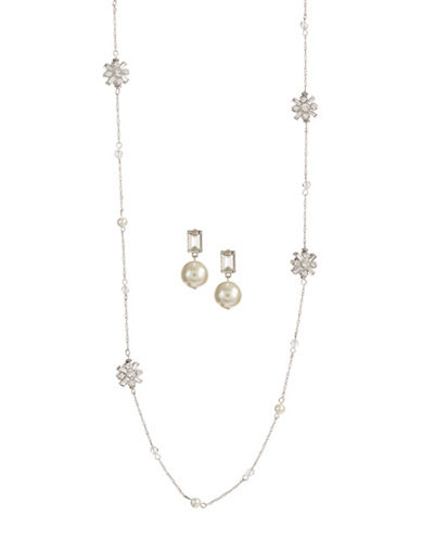Expression Two-Piece Pearl and Crystal Necklace and Stud Earrings Set-WHITE-One Size