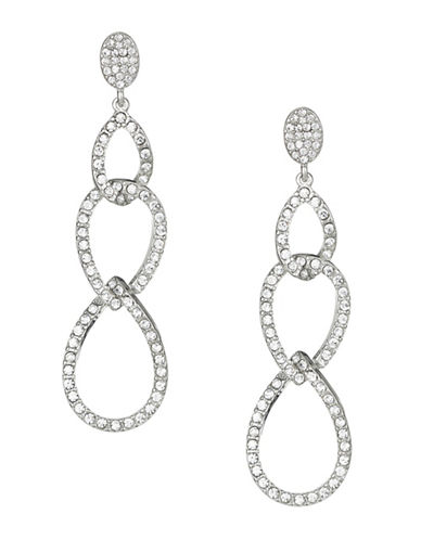 Expression Crystal Pave Linked Drop Earrings-SILVER-One Size