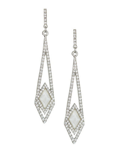Expression Crystal Losange Pave Drop Earrings-SILVER-One Size
