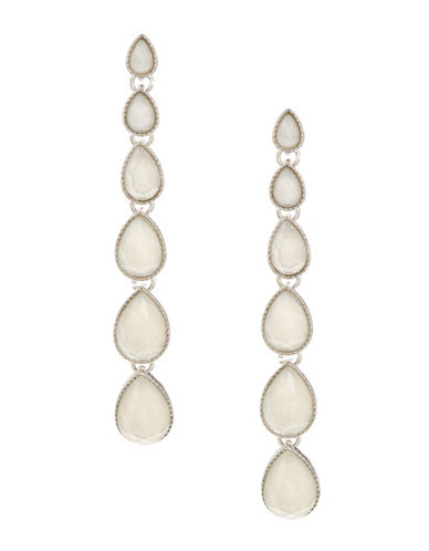 Expression Linear Graduating Teardrop Earrings-WHITE-One Size