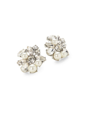 Expression Pearl and Crystal Navettes Stones Stud Earrings-WHITE-One Size