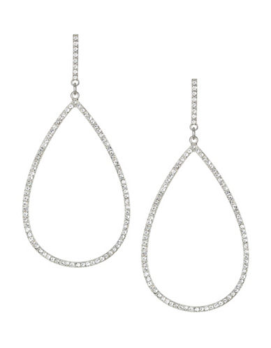 Expression Crystal Pave Drop Earrings-SILVER-One Size