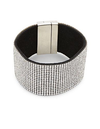 Expression Crystal Magnetic Bangle Bracelet-SILVER-One Size