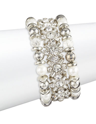 Expression Three-Piece Faux Pearl and Crystal Stretch Bracelet Set-SILVER-One Size