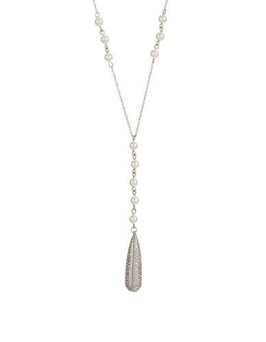 Expression Faux Pearl and Crystal Pave Teardrop Pendant Necklace-WHITE-One Size