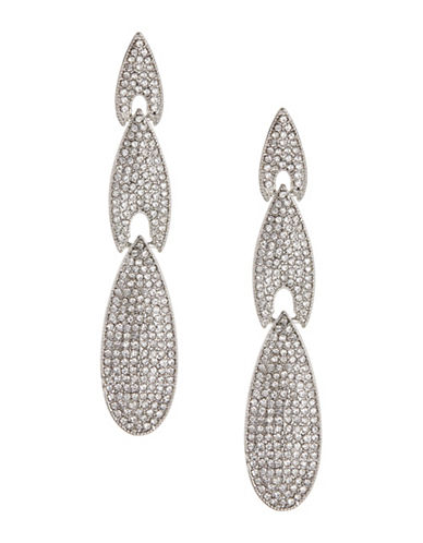 Expression Crystal Three-Tier Drop Earrings-SILVER-One Size