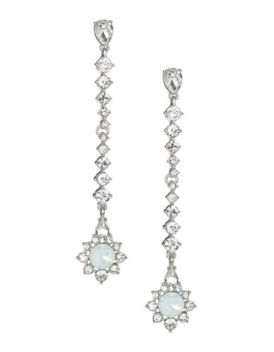 Expression Crystal Dangly Drop Earrings-SILVER-One Size