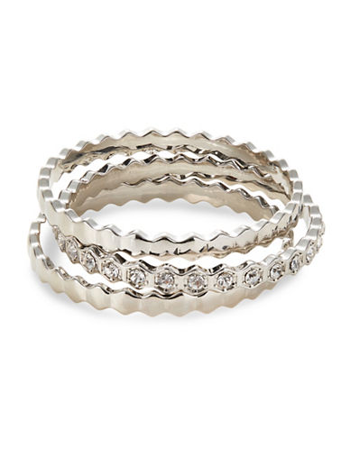 Expression Three-Piece Crystal Wavy Bangle Set-SILVER-One Size