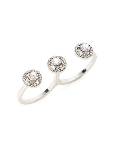 Expression Crystal Double Knuckle Duster Ring-SILVER-9
