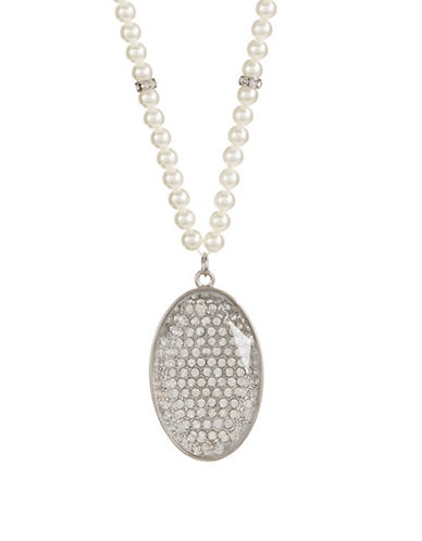 Expression Faux Pearl Oval Pave Pendant Necklace-WHITE-One Size