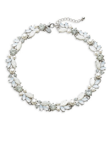 Expression Crystal Faceted Stone Navette Choker Necklace-WHITE-One Size