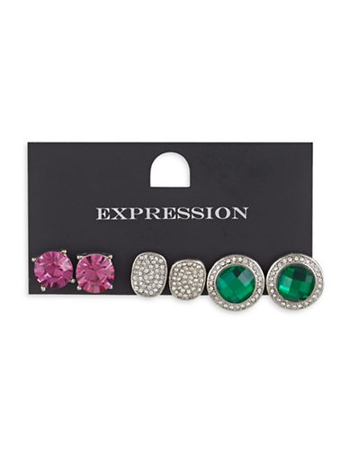 Expression Three-Piece Crystal Faceted Stud Earrings Set-ASSORTED-One Size