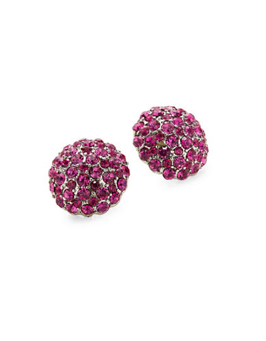 Expression Crystal Pave Stud Earrings-PINK-One Size