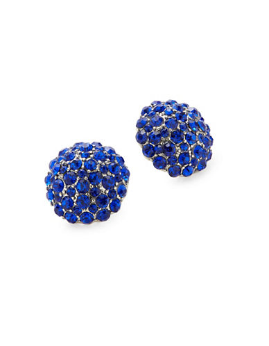 Expression Crystal Pave Stud Earrings-BLUE-One Size