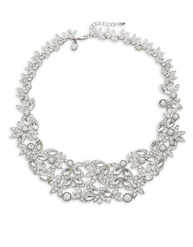 Expression Crystal Multi Navette Stones Statement Necklace-SILVER-One Size