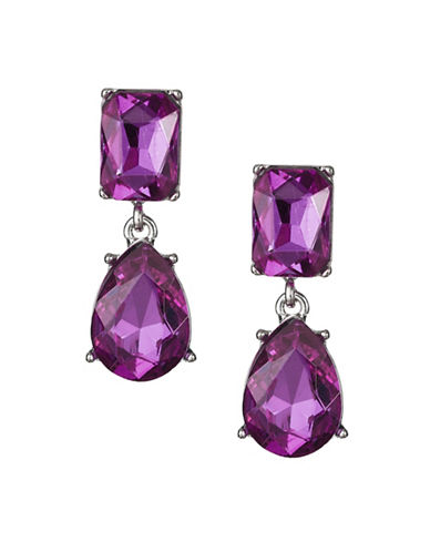 Expression Crystal Dangly Rectangular Drop Earrings-PURPLE-One Size