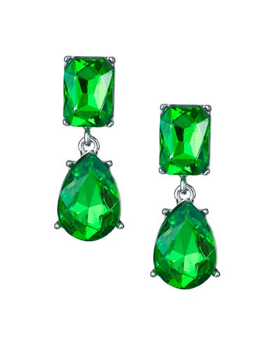 Expression Crystal Dangly Rectangular Drop Earrings-GREEN-One Size