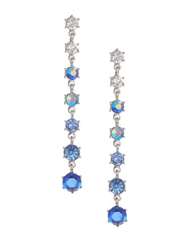 Expression Seven-Crystal Drop Earrings-BLUE-One Size